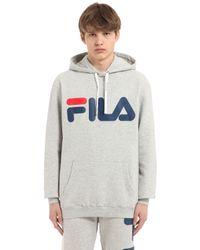 Fila   Gray Logo Hooded Cotton Blend Sweatshirt for Men   Lyst