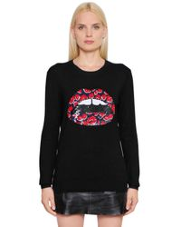 Markus Lupfer | Black Sequined Merino Wool Knit Sweater | Lyst