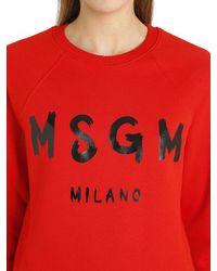 MSGM | Red Logo Cotton Jersey Sweatshirt | Lyst