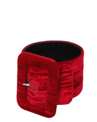 Attico | Red 2 Crushed Velvet Buckled Ankle Cuffs | Lyst