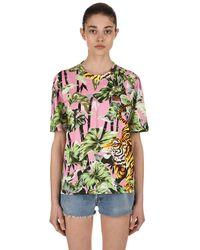 KENZO Green Bamboo Tiger Printed Cotton T-shirt