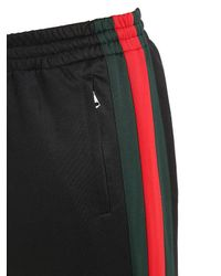Gucci Black 25cm Web Stripes Jersey Track Pants for men