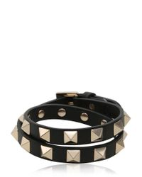 Valentino | Black Rockstud Wrap Around Leather Bracelet | Lyst