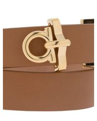 Ferragamo - Brown Gancio Leather Wrap Bracelet - Lyst