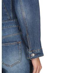 Ganni - Blue Washed Cotton Denim Jumpsuit - Lyst