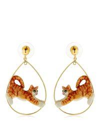 Nach - Orange Ginger Stretching Cat Earrings - Lyst