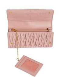 Miu Miu - Pink Quilted Leather Continental Wallet - Lyst
