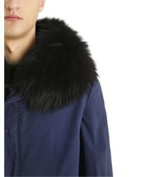 Mr & Mrs Italy Blue Cotton Canvas Parka W/ Fur Trim for men