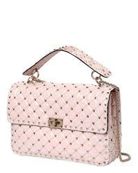 Valentino Pink Large Spike Georgette & Pvc Shoulder Bag