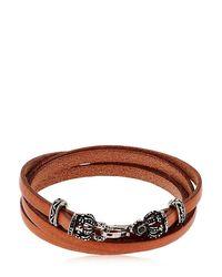Alcozer & J - Brown Crowns Leather Wrap Bracelet - Lyst