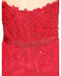 Reem Acra - Embroidered Lace & Silk Organza Dress - Lyst