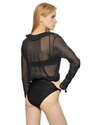 Adriana Degreas - Black Silk Georgette & Lycra Bodysuit - Lyst