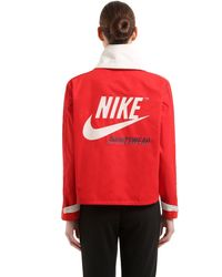 Nike - Red Hooded Techno Pullover Jacket - Lyst