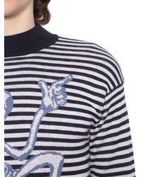 J.W. Anderson - Blue Merino Striped Sweater W/ Mercury Man for Men - Lyst