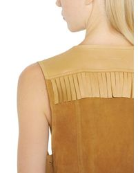 MM6 by Maison Martin Margiela - Brown Fringed Suede & Nappa Leather Vest - Lyst