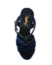 Saint Laurent - Blue 140mm Tribute Velvet Sandals - Lyst