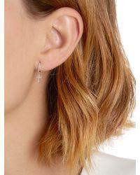 Stone Paris - Metallic Celeste Tiny Mono Hoop Earring W/ Cross - Lyst