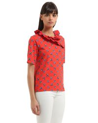 KENZO - Red May Flowers Cotton Jersey Top - Lyst