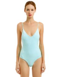 Albertine - Blue Laguna Velvet One Piece Swimsuit - Lyst