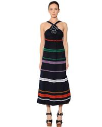 Sonia Rykiel - Blue Embroidered Stripes Cotton Voile Dress - Lyst