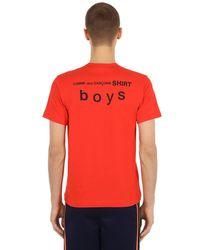 Comme des Garçons - Red T-shirt En Jersey De Coton Avec Logo for Men - Lyst