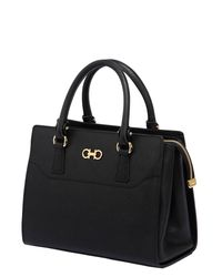 Ferragamo - Black Beky Saffiano Leather Top Handle Bag - Lyst