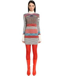 Missoni   Red Turtleneck Wool Blend Rib Knit Dress   Lyst
