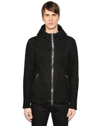 Giorgio Brato - Black Slim Fit Hooded Shearling Coat for Men - Lyst