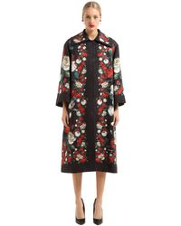 Dolce & Gabbana - Black Brocade Roses Coat - Lyst