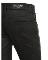 Balmain - Black 17cm Biker Coated Cotton Denim Jeans - Lyst