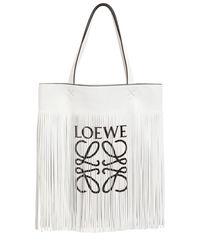 Loewe - White Logo Print Long Fringe Leather Tote Bag - Lyst