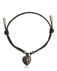 Dolce & Gabbana - Black Waxed Strap & Metal Chain Bracelet for Men - Lyst