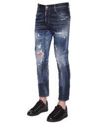 DSquared² | Blue 17cm Tidy Biker Fit Ripped Denim Jeans for Men | Lyst