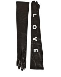 Versace - Black Love Long Nappa Leather Gloves - Lyst