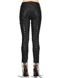 Unravel - Black Skinny Lace-up Stretch Leather Pants - Lyst