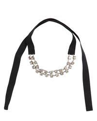 Ann Demeulemeester - Black Crystal Velvet Choker Necklace - Lyst