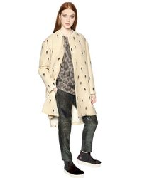 N°21 - Natural Brush Stroke Print Wool Ottoman Coat - Lyst