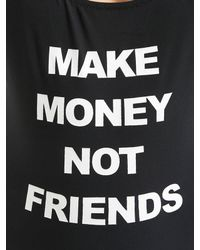 MAKE MONEY NOT FRIENDS Black Logo Printed One Piece Swimsuit