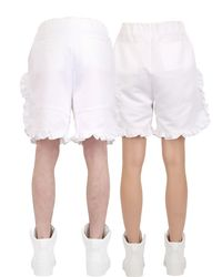 Nicopanda - White Ruffled Satin Shorts - Lyst