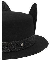 Karl Lagerfeld - Black K/small Brim Boater Hat W/ Ears - Lyst