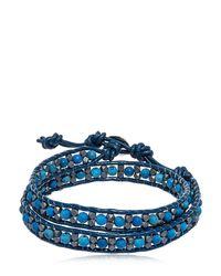 Colana - Blue Hematite & Lava Beads Wrap Bracelet - Lyst