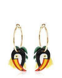 Nach | Metallic Toucan & Palm Leaves Hoop Earrings | Lyst