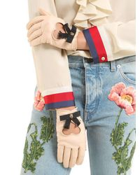 Gucci - Natural Leather Gloves W/ Bow & Cat Detail - Lyst