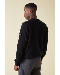 Stone Island - Black 63420 Brushed Cotton Fleece Logo Sweatshirt for Men - Lyst