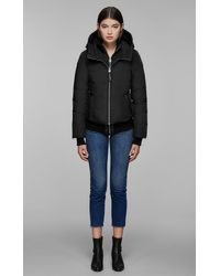 Mackage - Black Bomber Cut Down Jacket With Natural Fur Trim - Lyst