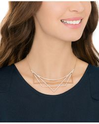 Swarovski - Metallic Rose Gold-tone Pavé Geometric Necklace - Lyst