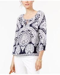 INC International Concepts | Blue Printed Tie-neck Top | Lyst