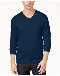 Alfani - Blue Slim-fit V-neck Sweater for Men - Lyst