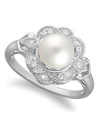 Macy's - Metallic Sterling Silver Ring, Cultured Freshwater Pearl (7mm) And Diamond (1/10 Ct. T.w.) Ring - Lyst