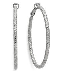 INC International Concepts - Metallic Silver-tone Small Textured Hoop Earrings - Lyst